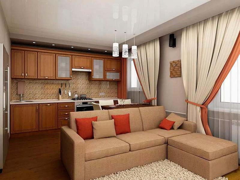 маленькая гостиная совмещенная с кухней картинки