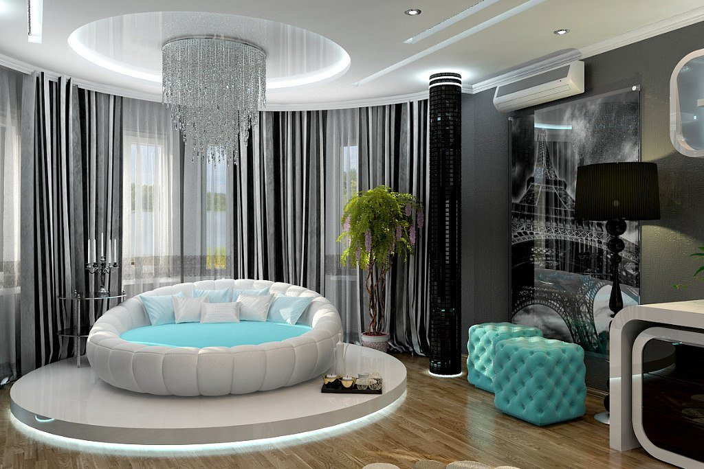 фото дизайна спален с круглой кровати костюм