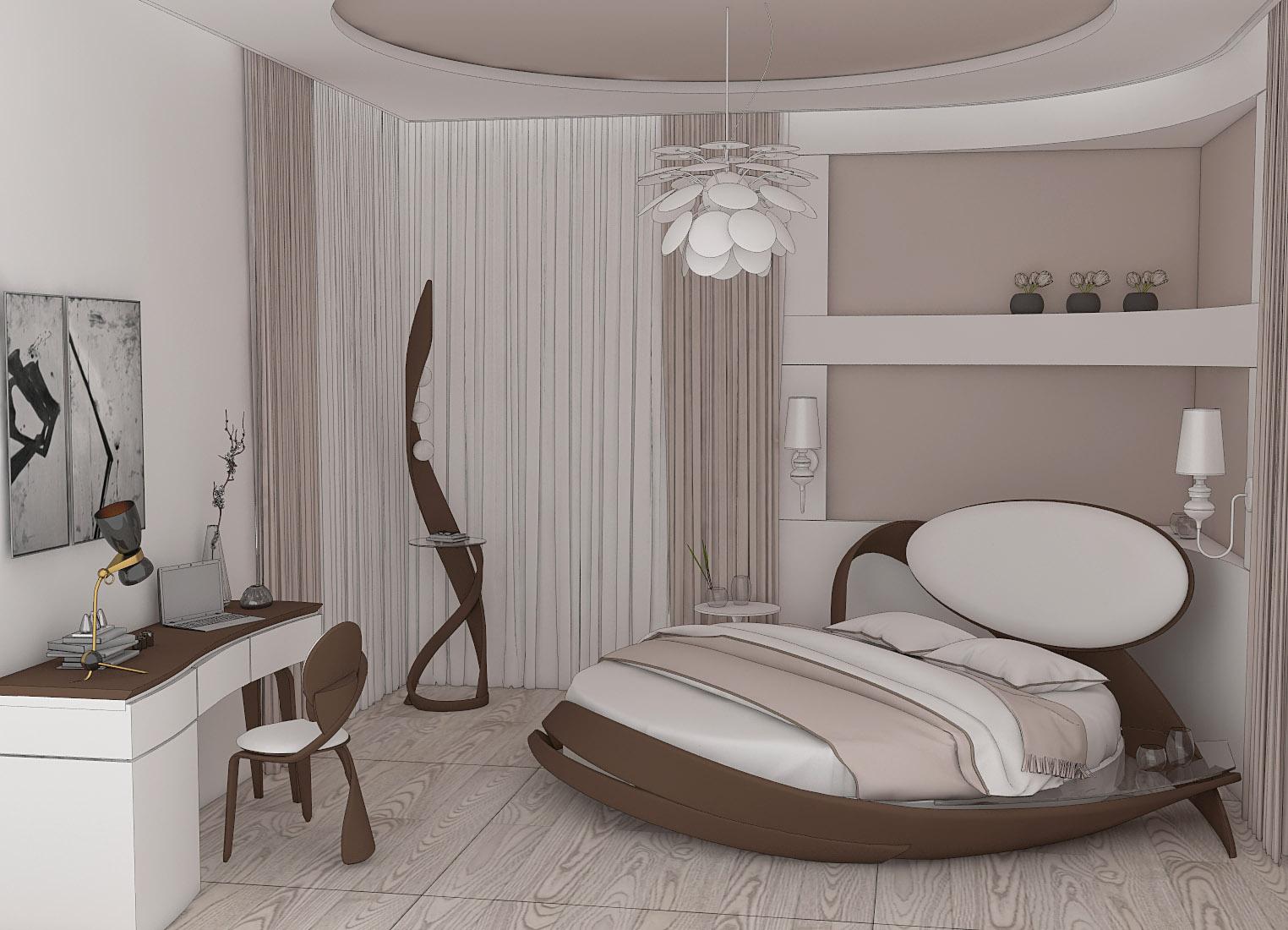 спальня с круглой кроватью фото правило, это спокойный